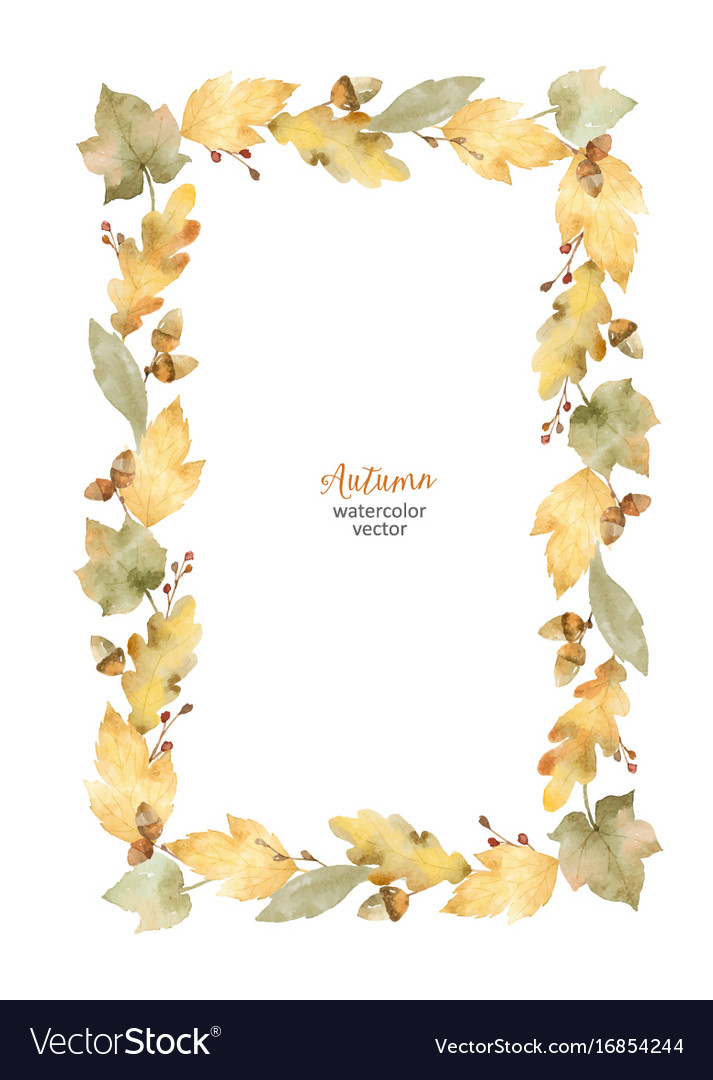 Watercolor rectangular frame of leaves and