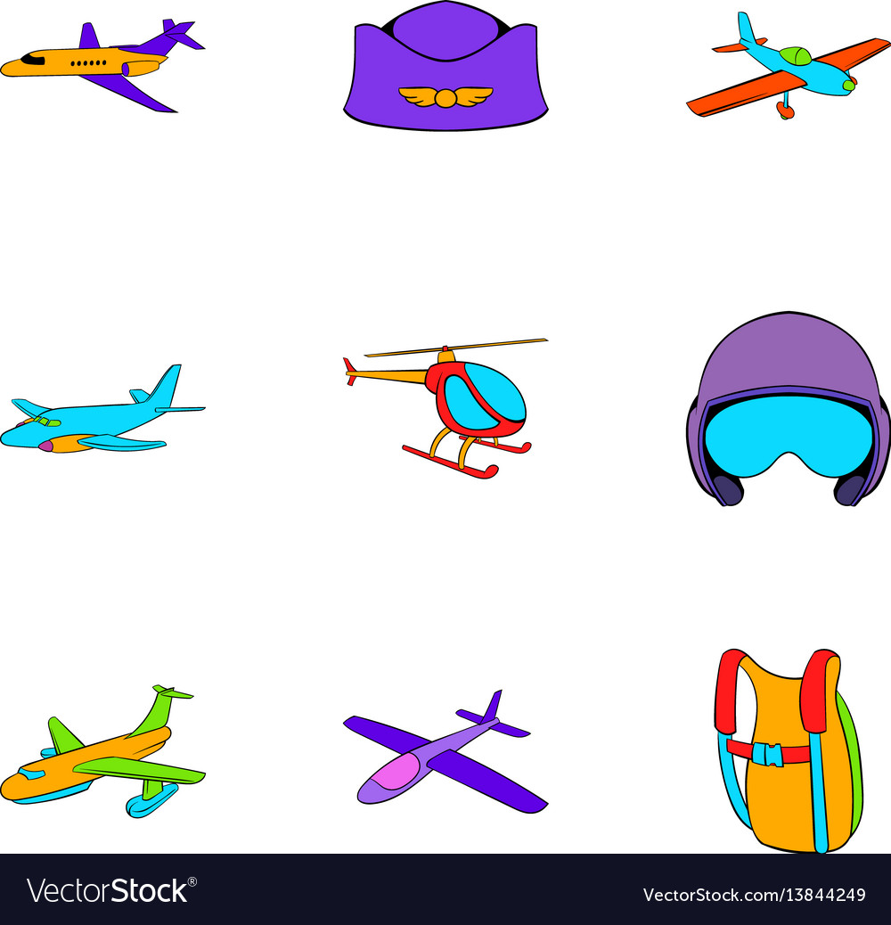 Aviator icons set cartoon style