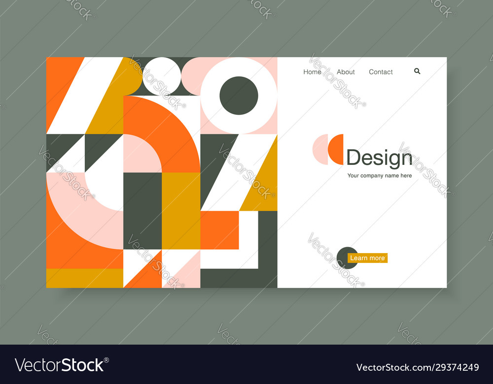 Banner with bright geometric forms in trendy