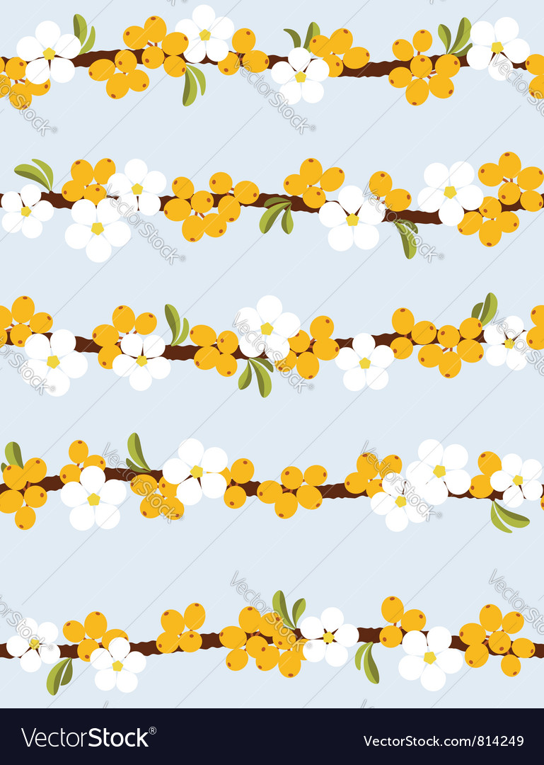 Berries and flowers - Seamless pattern