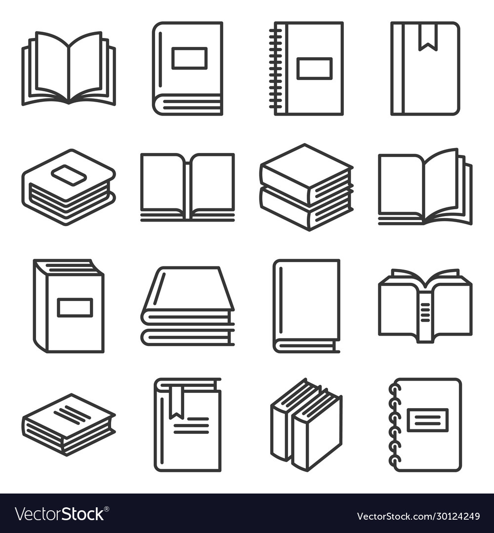 Book icons set on white background line style