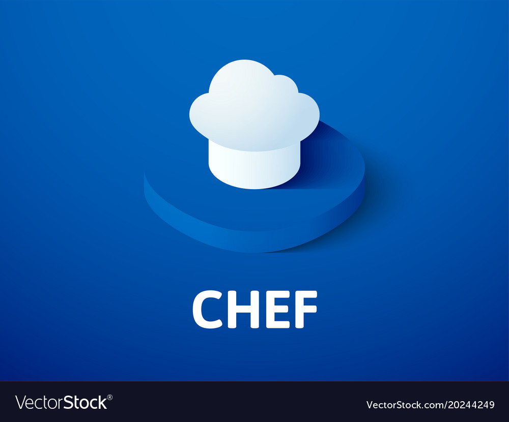 Chef isometric icon isolated on color background