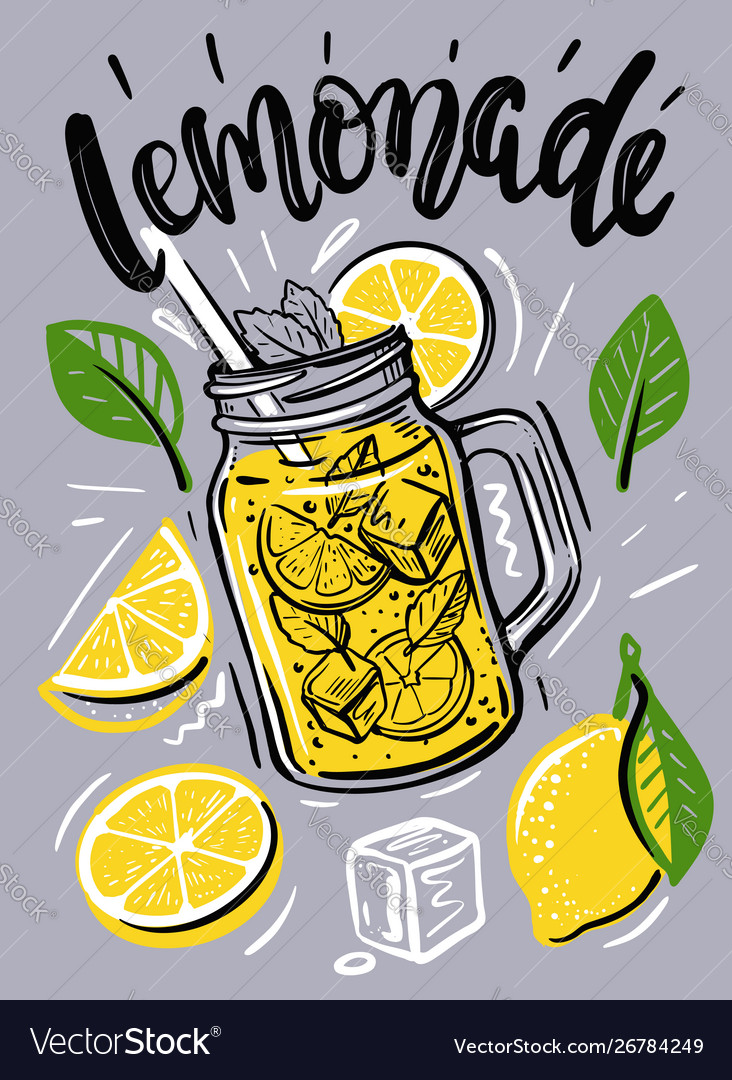 Cup with lemonade sketch for your design