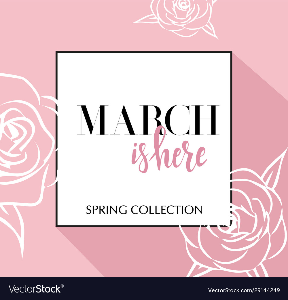 Design banner with lettering march is here logo