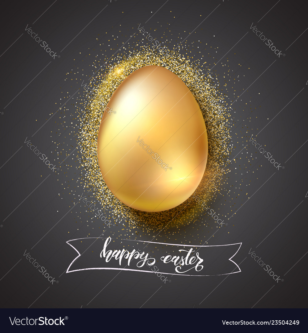 Golden egg for celebration of happy easter on