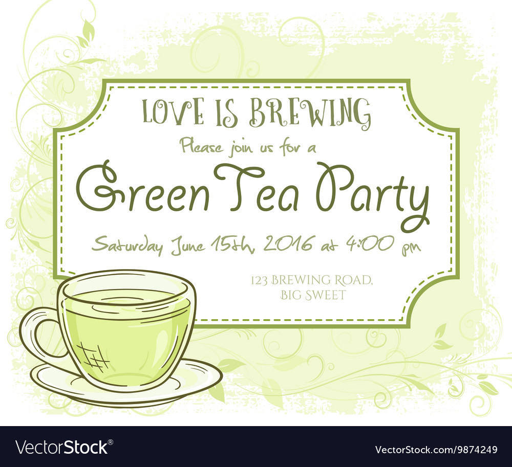 Hand Drawn Green Tea Party Invitation Card Vintage