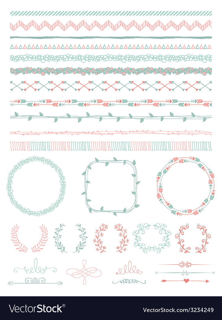 Hand-Drawn Seamless Borders and Design Elements