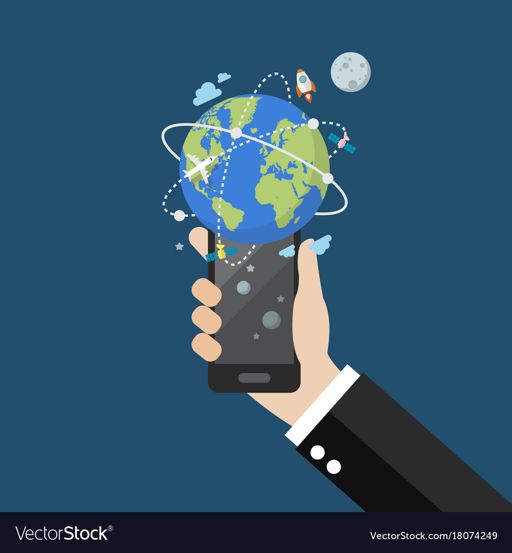 Hand holding smartphone with global network