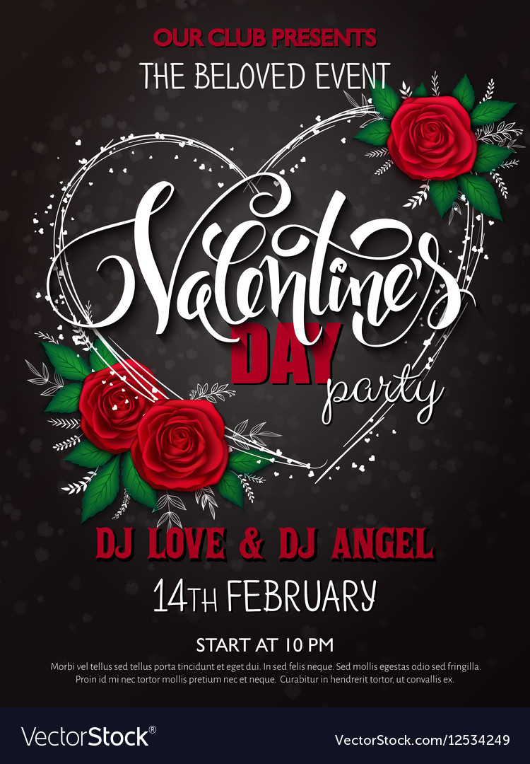 Happy Valentines Day Party Poster With Royalty Free Vector