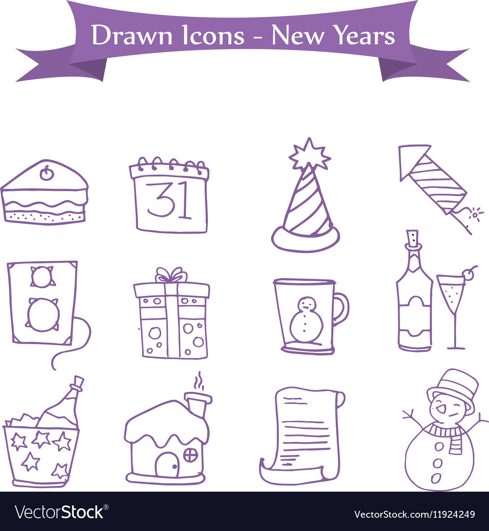 Icon of New Year and Merry Christmas element