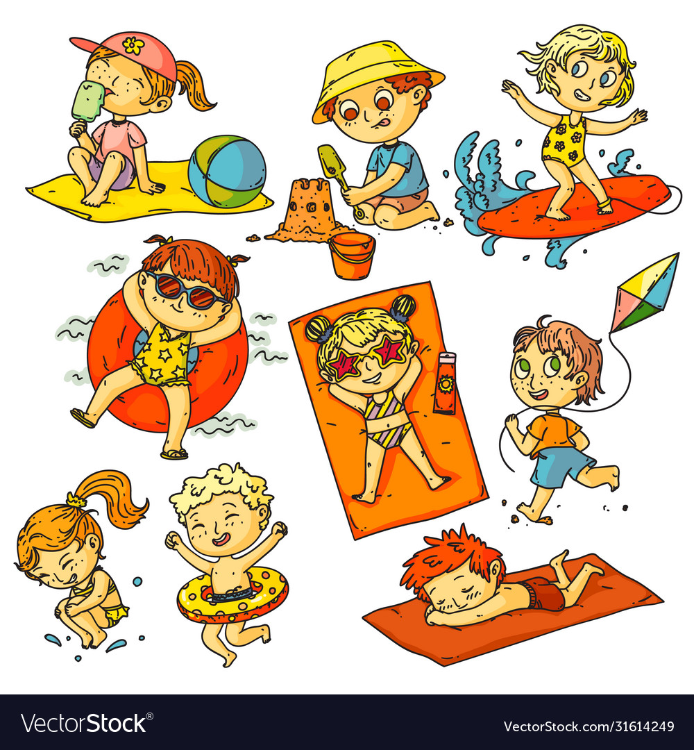 Kids summer vacation children beach activities
