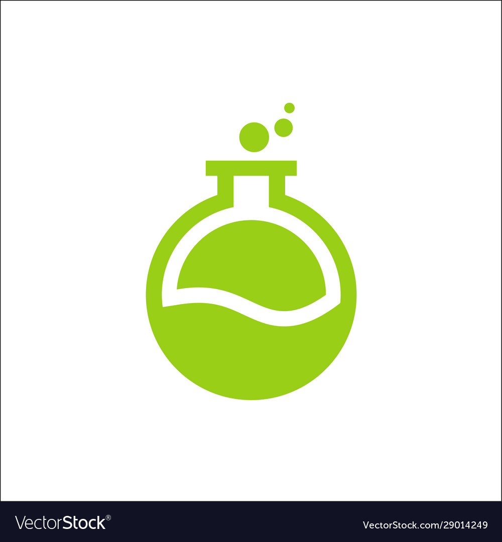 Laboratory logo green colorpotion bottle icon