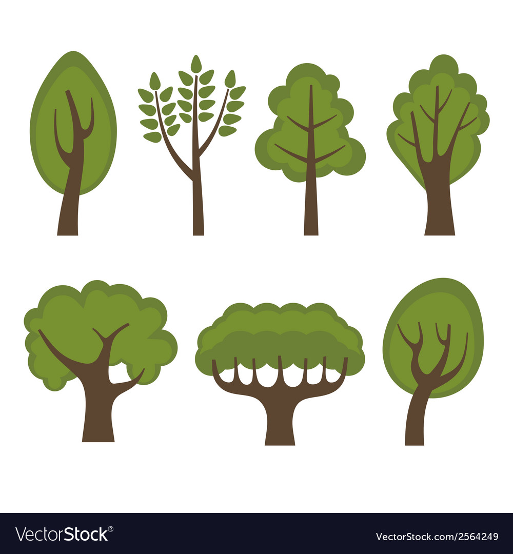 Set of Different Green Trees Cartoon Style