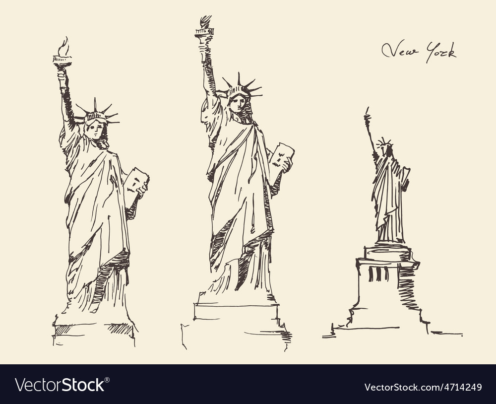 Statue of Liberty hand drawn vintage engraved