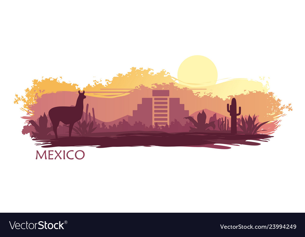 Stylized landscape mexico with a llama