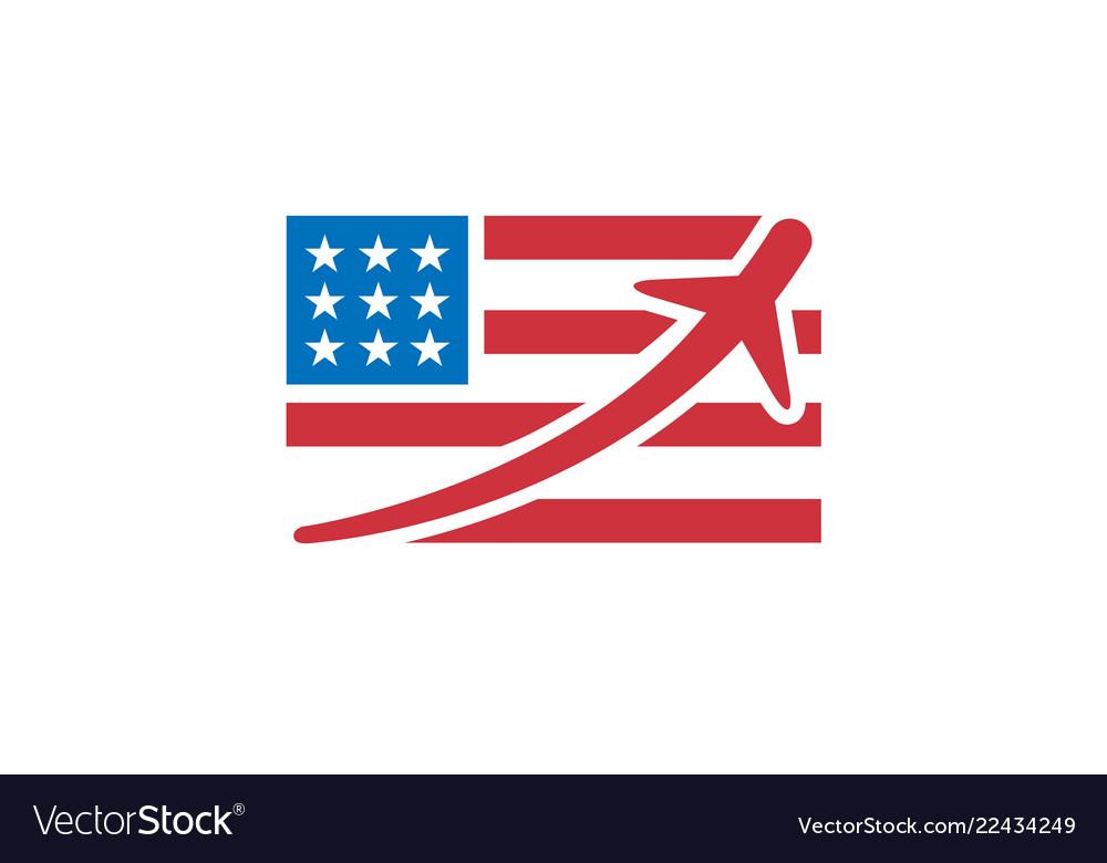 United states flag airplane flight creative logo