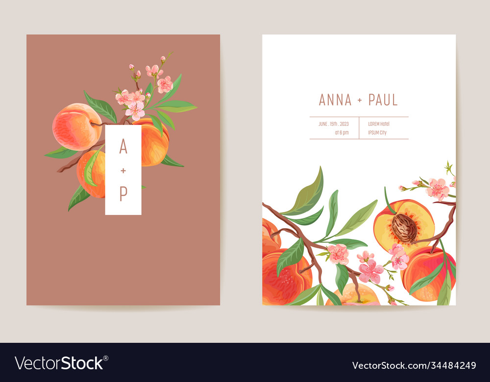 Watercolor wedding peach floral invitation exotic