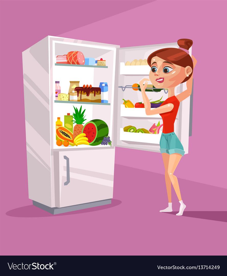 Woman character near refrigerator thinking