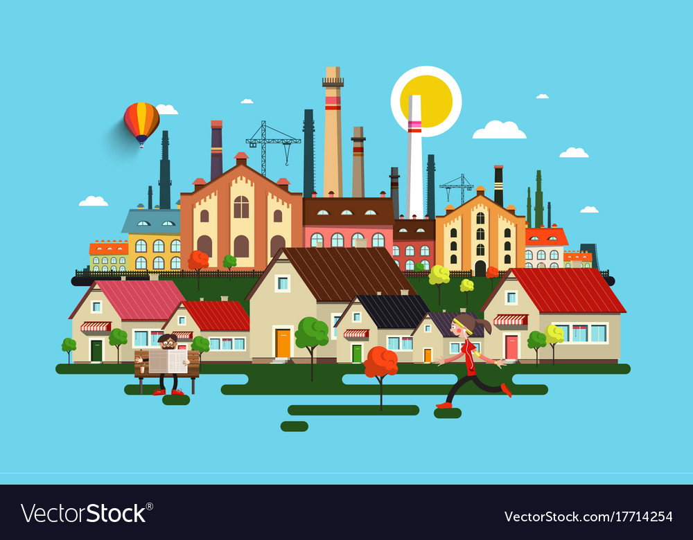 Abstract city town with buildings houses factory