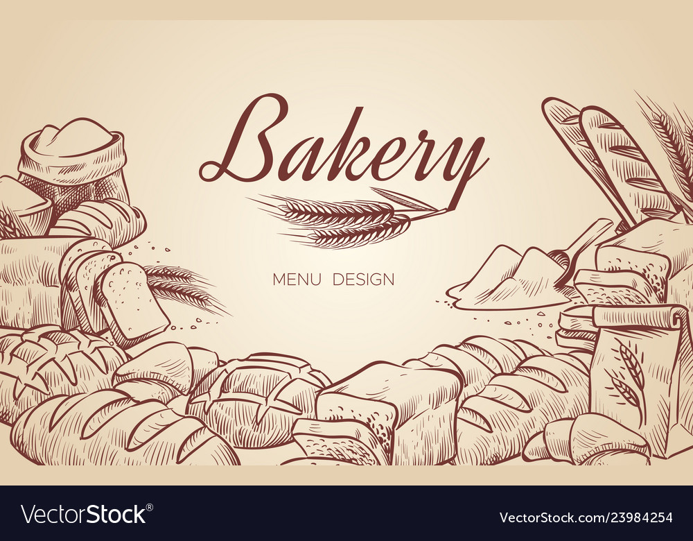 Bakery background hand drawn cooking bread bakery