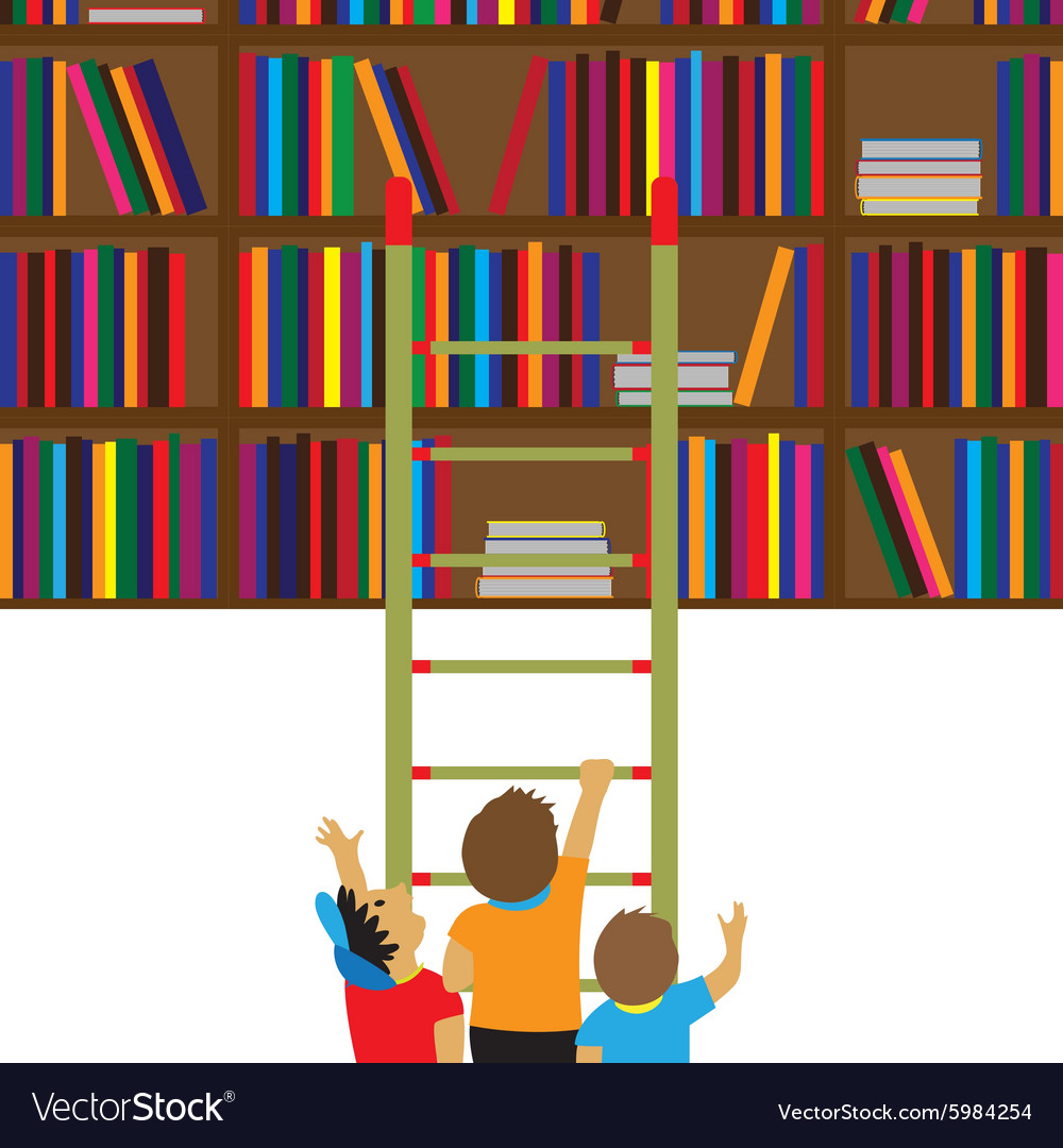 Children and books Education flat concept vector image