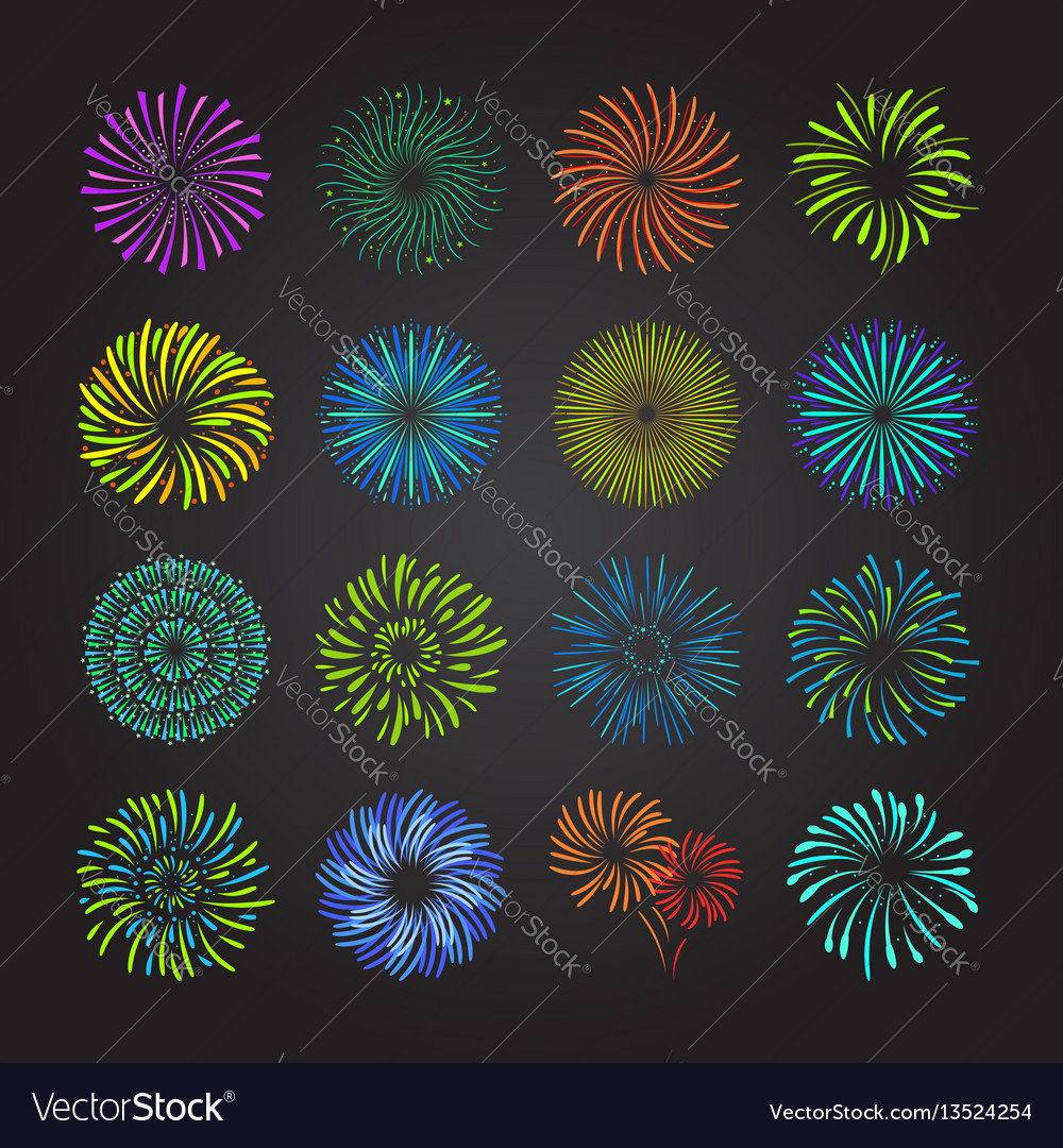 Color celebration fireworks set vector image