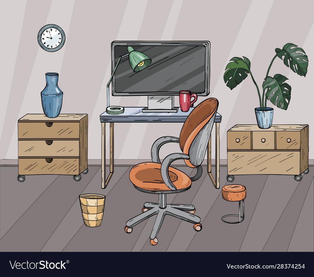 Desktop home office interior design