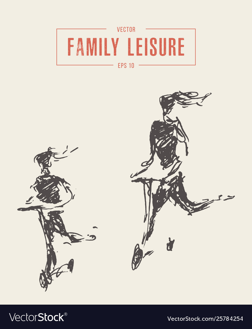 Family leisure riding scooter drawn sketch