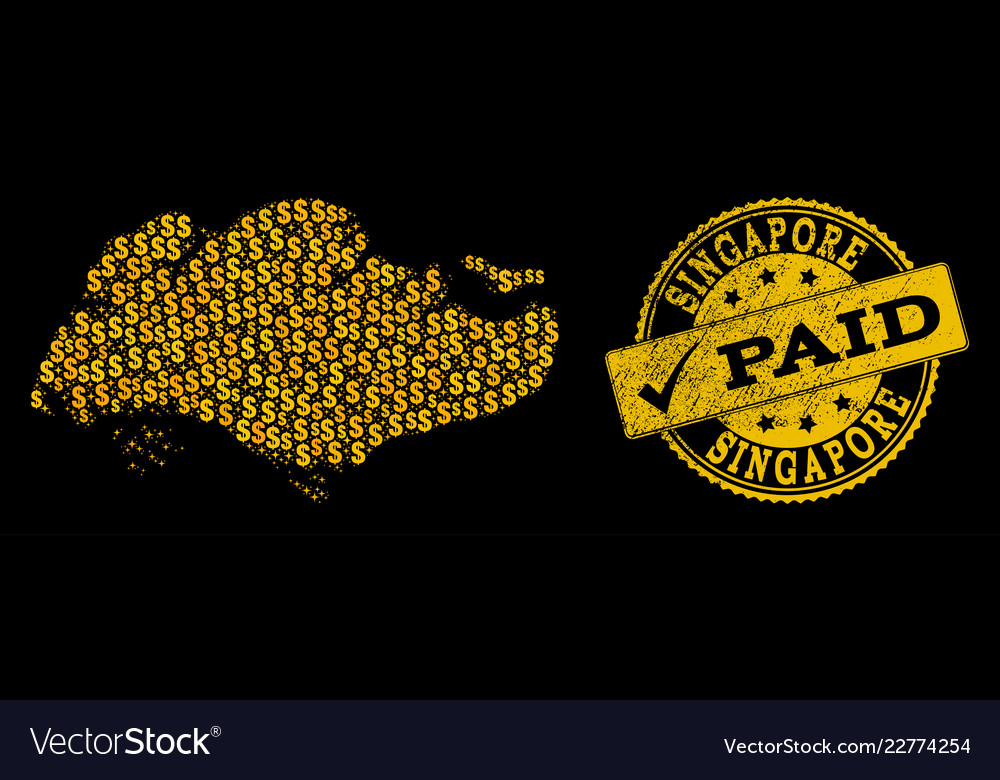 Golden dollar collage of mosaic map of singapore vector image