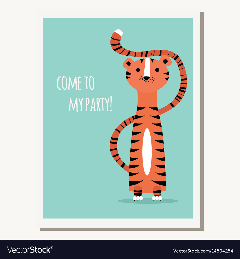 Greeting Card With Cute Tiger And Text Message Vector Image