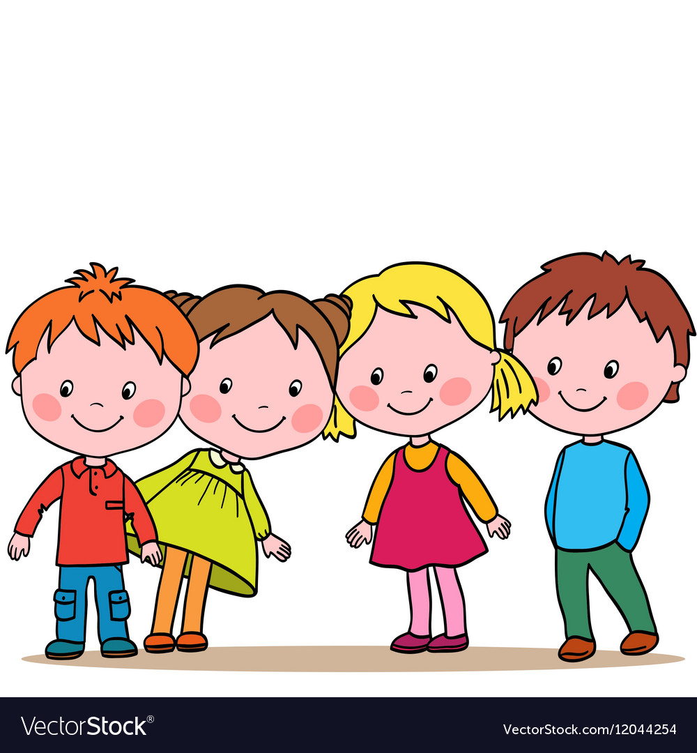 Group of four kids looking in one direction vector image voltagebd Choice Image