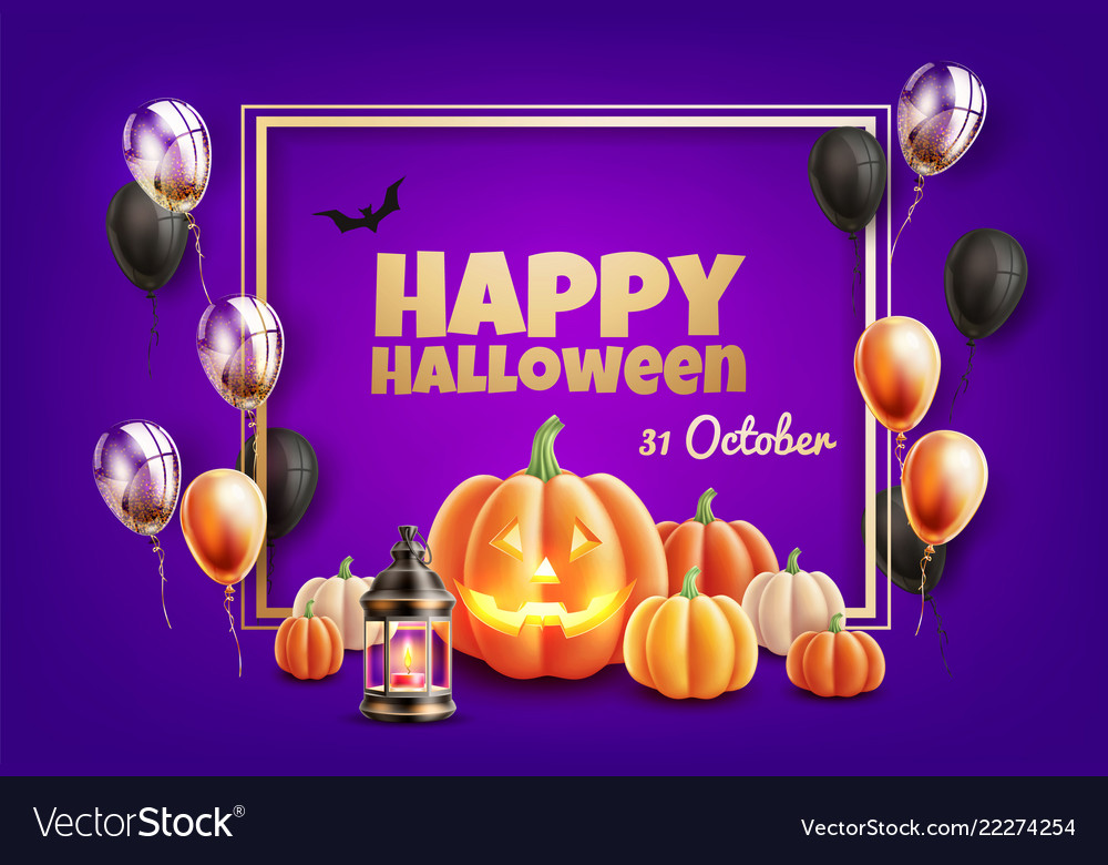 Halloween poster with scary pumpkin balloon