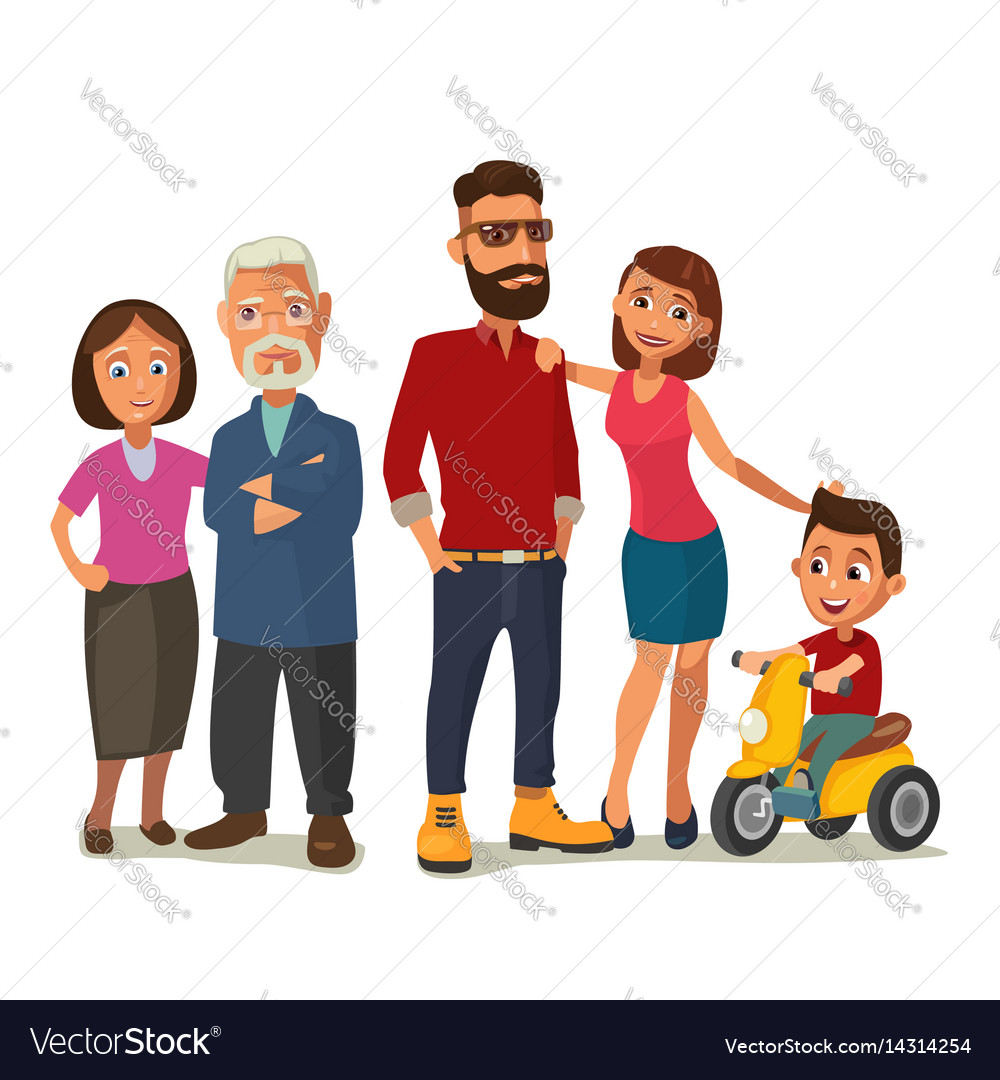 Happy family parents grandparents and child on a