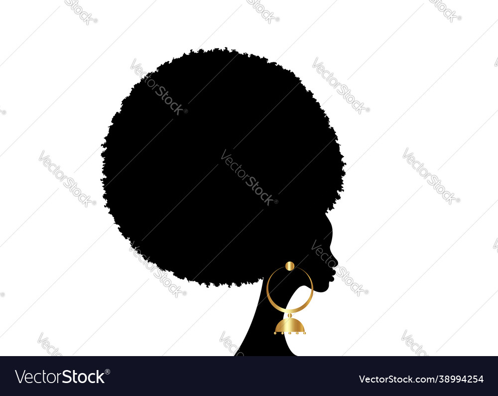 Portrait african woman black curly afro hair style