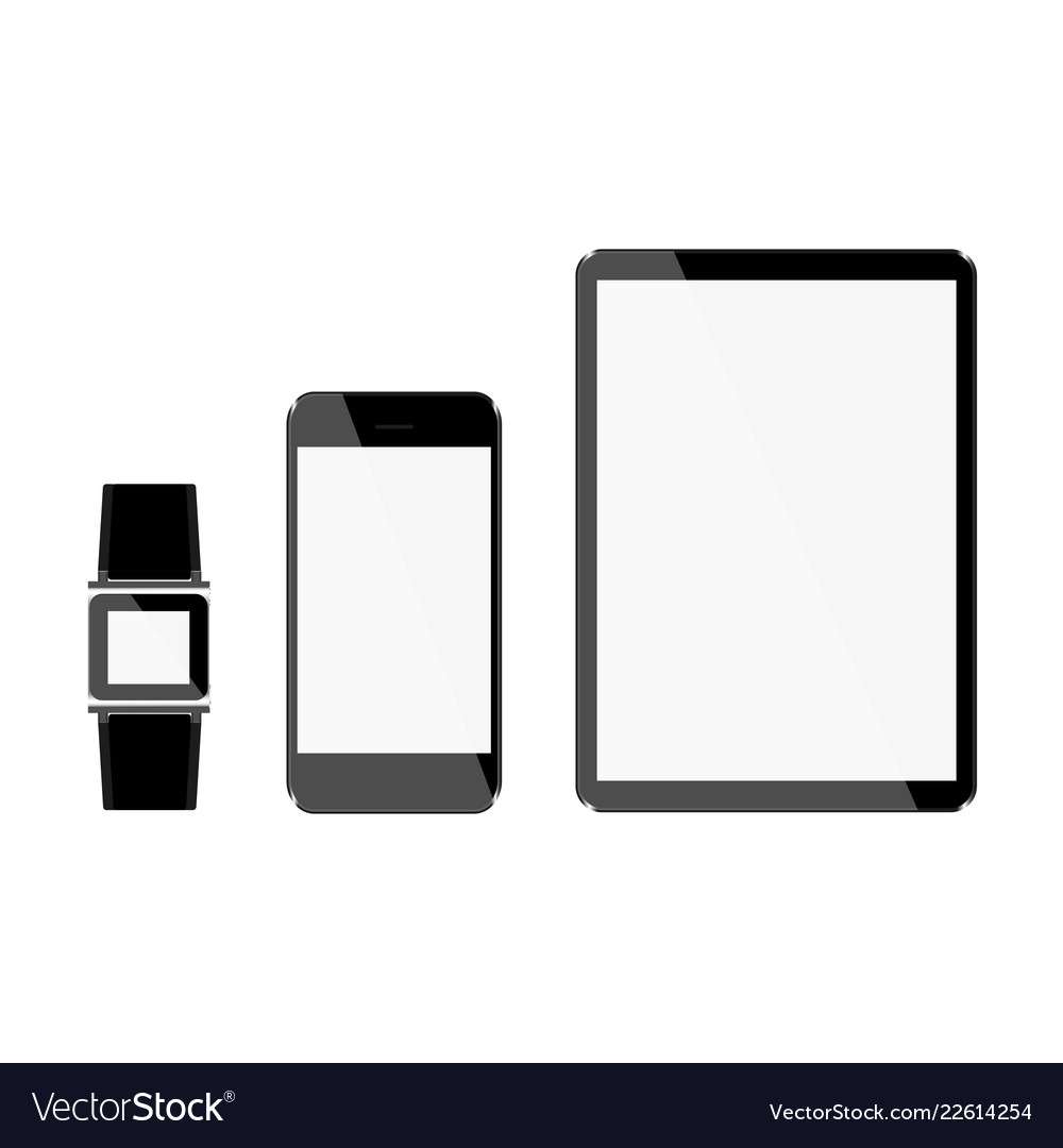 Set of tablet and phone hours with light displays