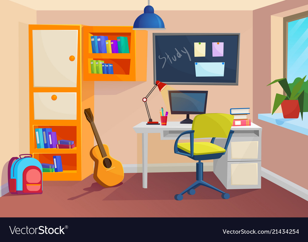 Student or pupil room workplace in room