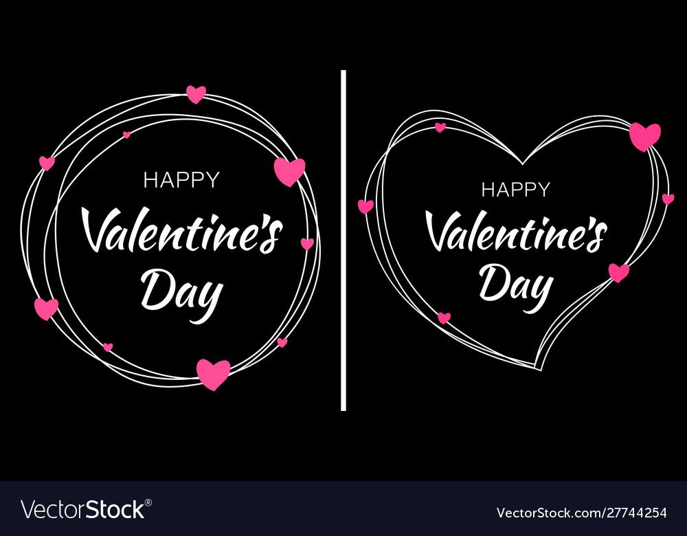 Valentines day card design set heart frame