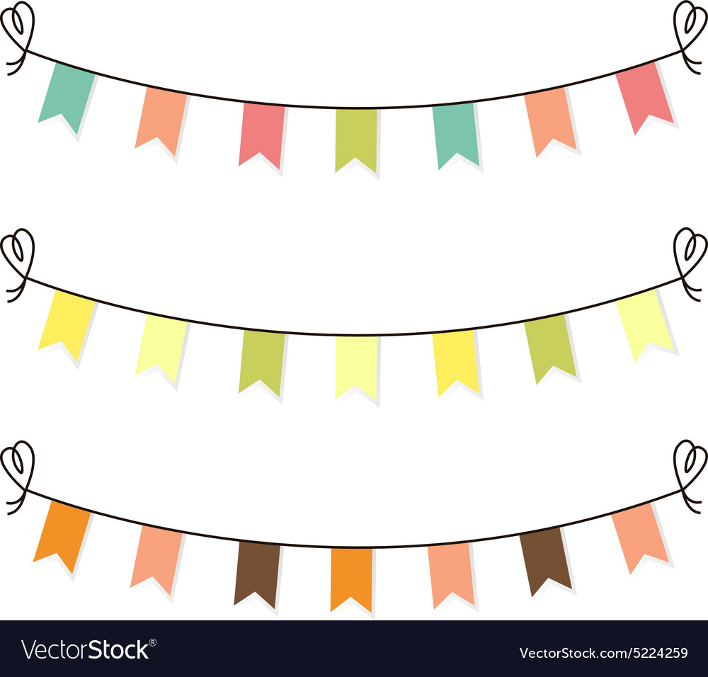 Cute flags clipart for baby shower set