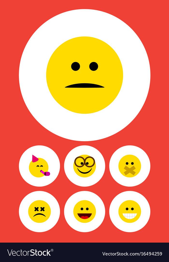 Flat icon emoji set of displeased laugh cross