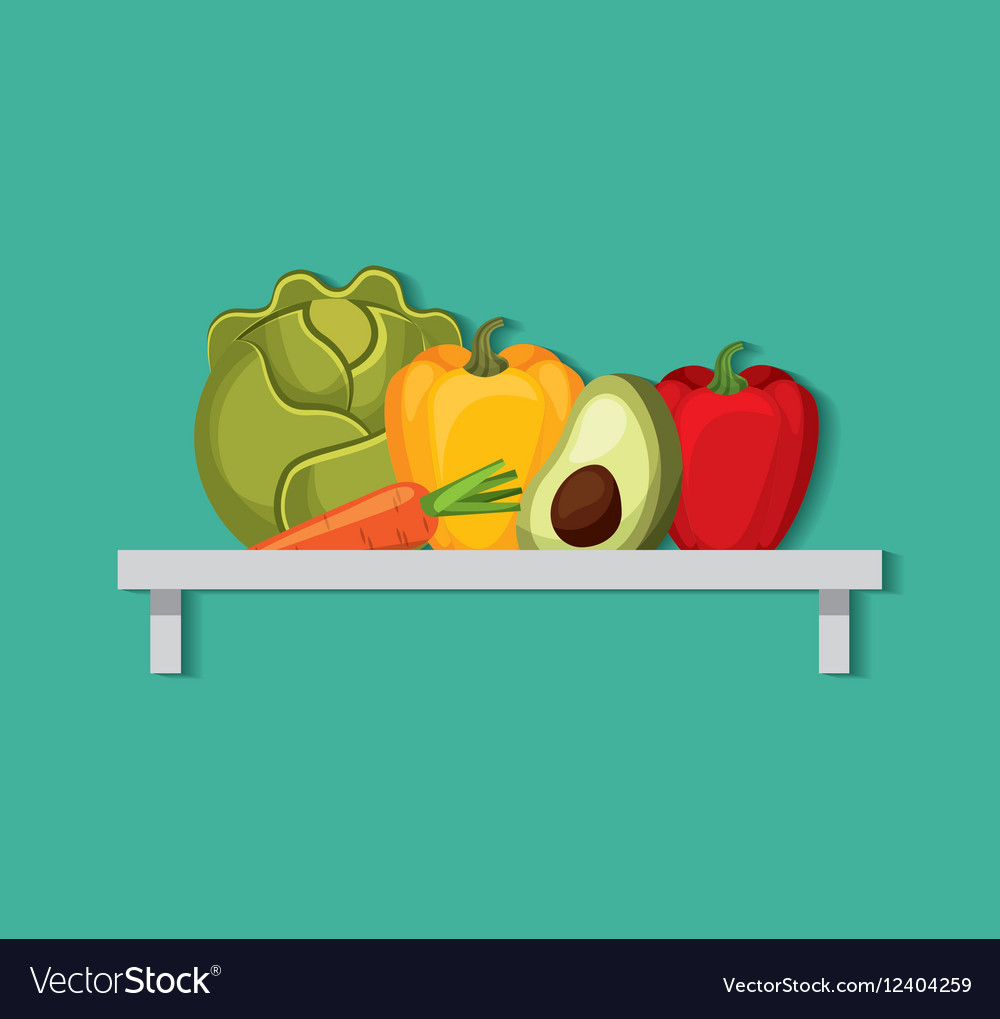 Grocery store set icons vector image