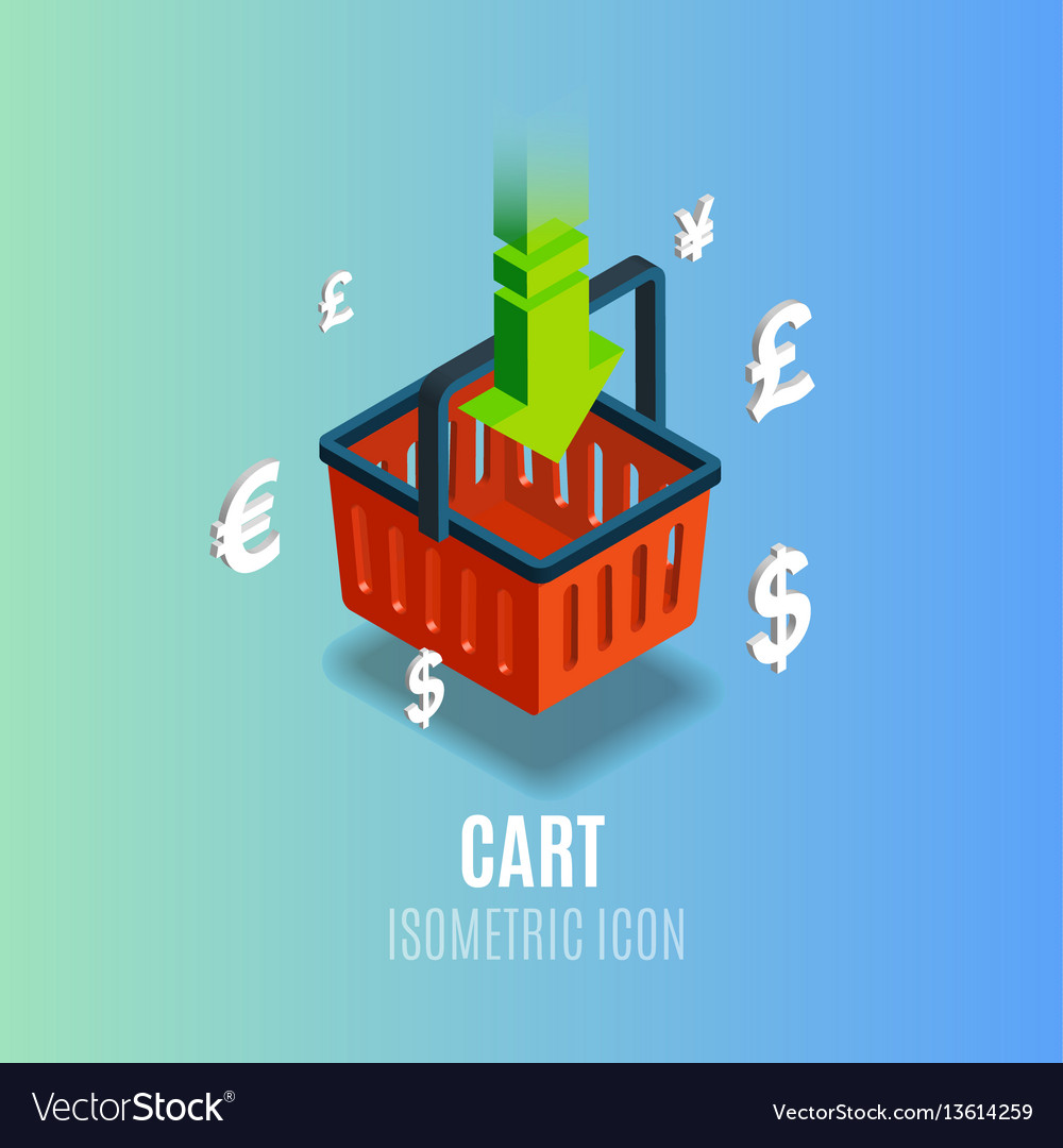 Isometric cart icon with currency