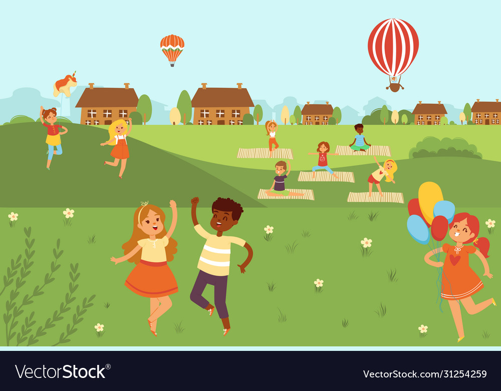 Kids jumping doing yoga activities and sports in