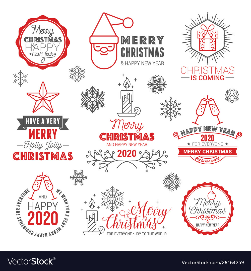 Merry christmas and happy new year logo set