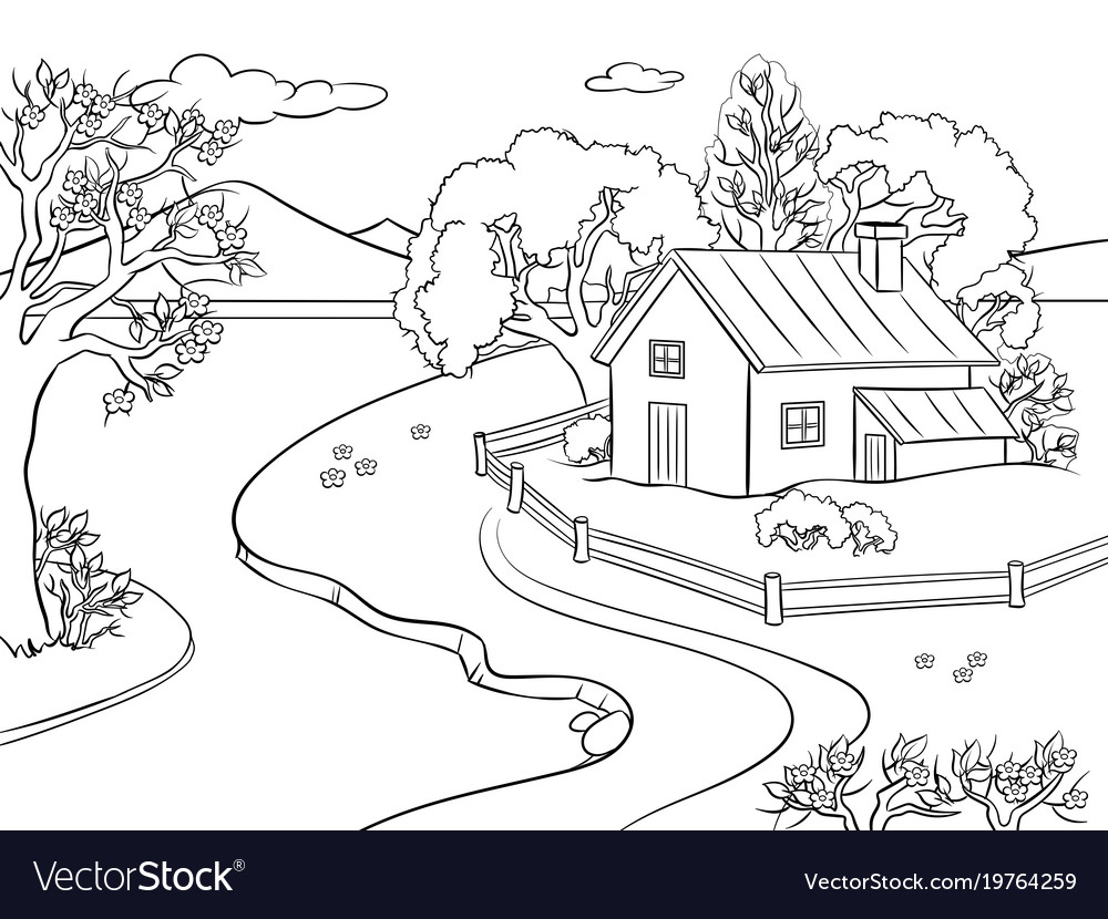 Spring landscape coloring book Royalty Free Vector Image