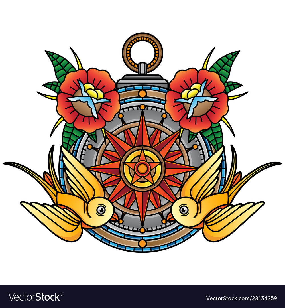 Traditional compass tattoo flash