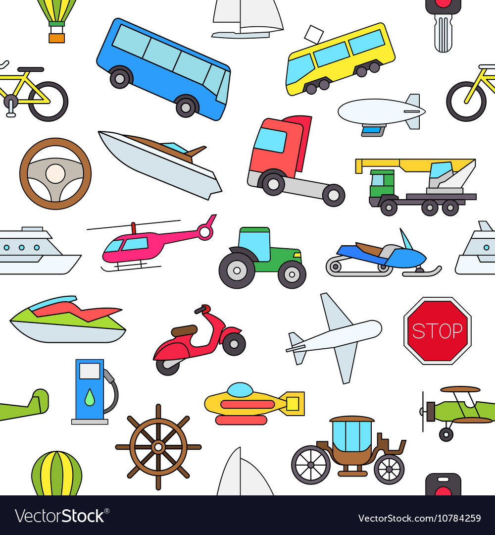 Transport colorful pattern icons