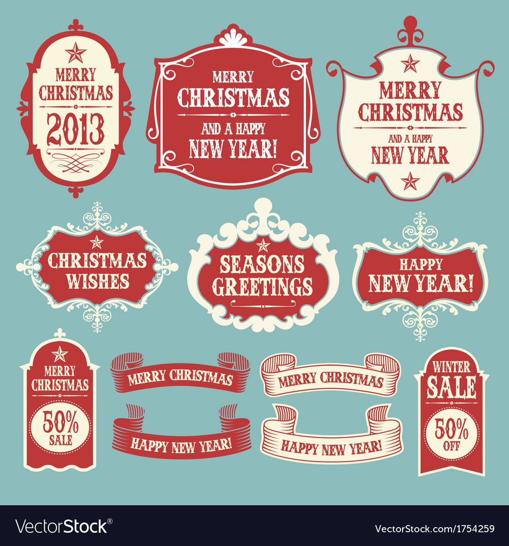 Vintage Christmas frames banners and ribbons Vector Image