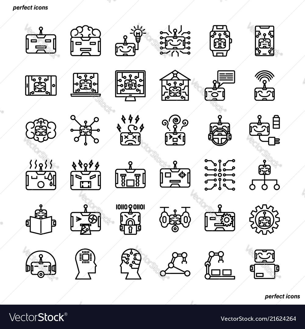 Android robot outline icons perfect pixel