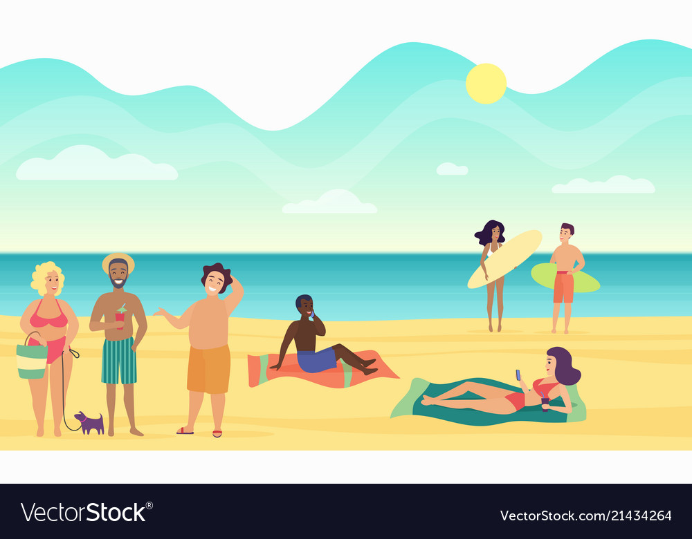 Beach summer people performing leisure and