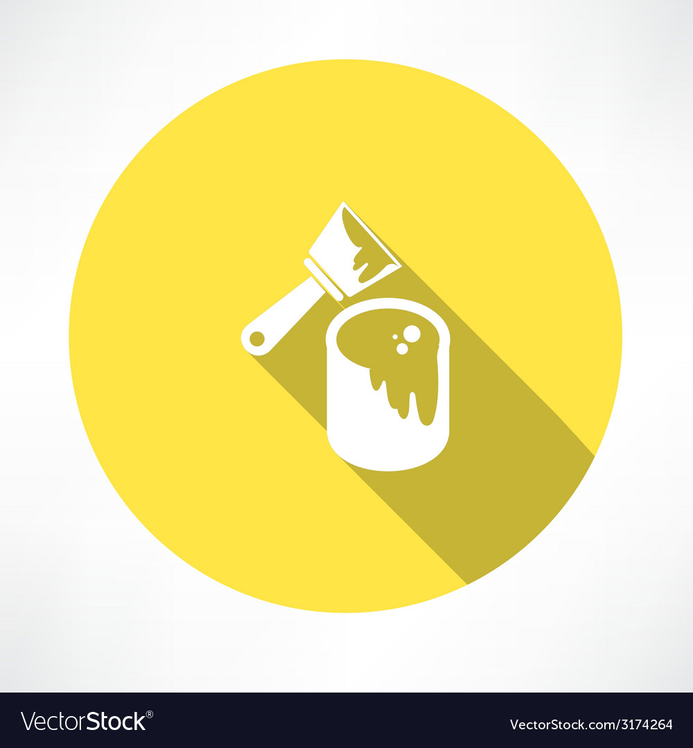 Brush with a can of paint icon vector image